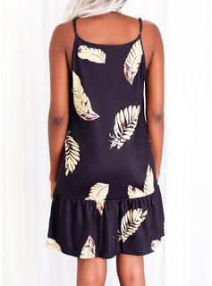 Impresión Vestidos sueltos Sin mangas Mini Casual Tipo Vestidos de moda
