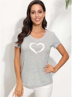 Print Korte ærmer Polyester V-hals T-shirt Bluser