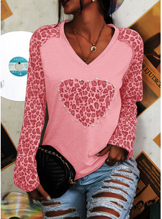 Beaded Leopard V-Neck Long Sleeves Casual T-shirt