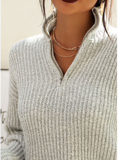 V-Neck Casual Solid Chunky knit Ribbed Sweaters