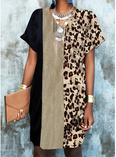 Leopardo Trozos de color Impresión Vestidos sueltos Manga Corta Mini Elegante Vestidos de moda