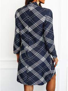 Tartan Abiti dritti Maniche lunghe Mini Casuale Tunica Vestiti di moda
