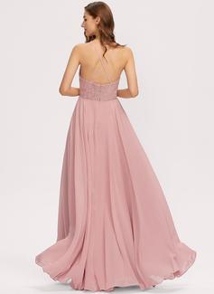 Kjole med A-linje Ærmeløs Maxi Romantisk Sexet Mode kjoler