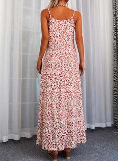 Blomster Print Skiftekjoler Ærmeløs Maxi Casual Ferie Typen Mode kjoler