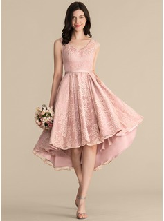 A-Line V-neck Asymmetrical Lace Bridesmaid Dress With Bow(s) Pockets