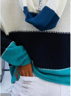 Hooded Fritids Color Block Klumpig stickning Tröjor