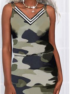 Impresión raya Camuflaje Cubierta Sin mangas Mini Casual Tipo Vestidos de moda