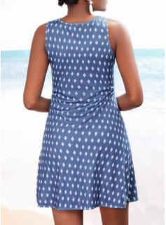 Print A-line Short Sleeves Mini Casual Skater Dresses