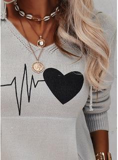 Capucha Casual Impresión Bolsillos Corazón Suéteres