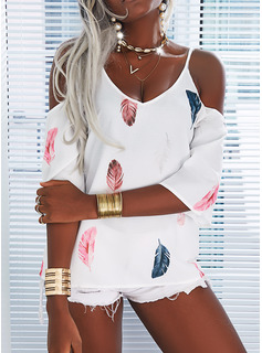 Print Feather Cold Shoulder 3/4 Sleeves Casual