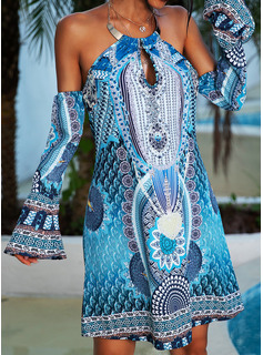 Print Shift Cold Shoulder Sleeve Long Sleeves Mini Casual Tunic Dresses