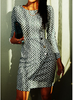 Imprimeu Conică Mâneci Lungi Midi gündelik Kalem Moda Elbiseler