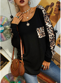 Leopard Round Neck Long Sleeves Casual T-shirt