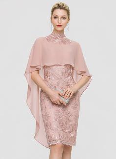 Sheath/Column High Neck Knee-Length Lace Cocktail Dress