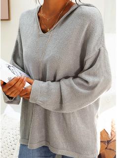 Jednolity Akryl Bluza z kapturem Pulower Swetry