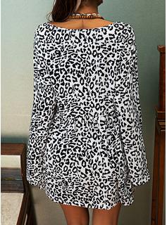 leopardo Girocollo Maniche lunghe Casuale