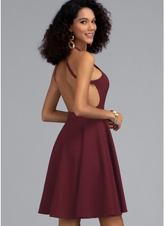 Corte A Decote redondo Curto/Mini Crepe Elástico Vestido de boas vindas