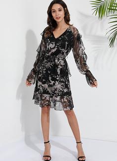 Sukienka Trapezowa Okrągły dekolt Poliester Modne Suknie