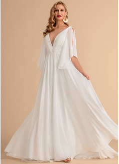 Corte A Escote en V Barrer/Cepillo tren Gasa Vestido de novia