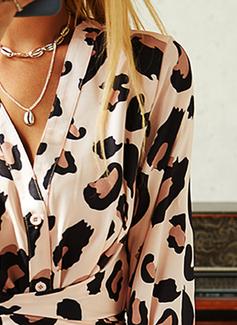 Leopard A-line Long Sleeves Maxi Elegant Skater Dresses