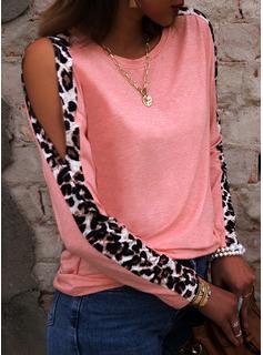 Leopard Kolde skulder Lange ærmer Casual Skjorter
