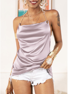 Einfarbig Ärmellos Polyester V-Ausschnitt Tank Tops Blusen