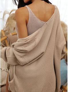Casuale Solido Cavo Knit Tasche Knit di cialda Maglioni
