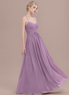 A-Line Sweetheart Floor-Length Chiffon Prom Dresses With Ruffle