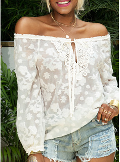 Lace Solid Long Sleeves Polyester Off the Shoulder Blouses