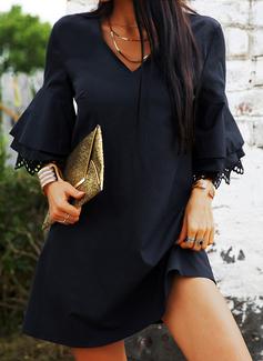 Pizzo Solido Abiti dritti 3/4 maniche Flare Sleeve Mini Casuale Vacanza Tunica Vestiti di moda