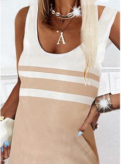 Trozos de color Vestidos sueltos Sin mangas Mini Elegante Vestidos de moda
