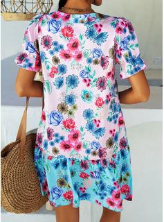 Blomster Print Skiftekjoler Korte ærmer Midi Casual Ferie Tunika Mode kjoler