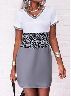 Leopardo Trozos de color Vestidos sueltos Manga Corta Mini Casual Vestidos de moda
