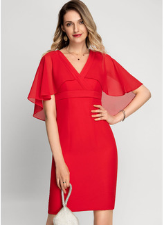 Sheath/Column V-neck Knee-Length Chiffon Cocktail Dress