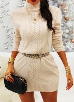 固体 長袖 カジュアル ファッションドレス