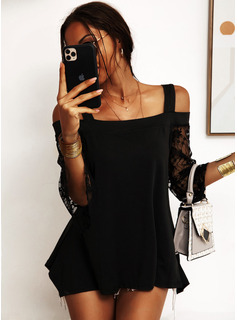 Lace Solid Long Sleeves Flare Sleeve Cotton Cold Shoulder Blouses