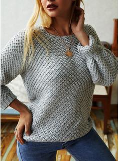 ラウンドネック カジュアル 固体 セーター