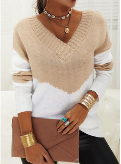 V-Neck Casual Color Block Sweaters