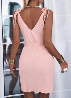 Solid Sheath Sleeveless Mini Casual Dresses
