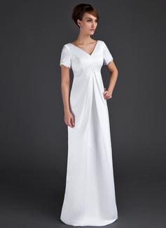 A-Linie/Princess-Linie V-Ausschnitt Bodenlang Satin Brautjungfernkleid Für Schwangere mit Rüschen Lace