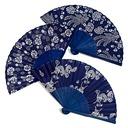 blomsterdesign Bambus/Silke Hånd vifte (Sett med 4)