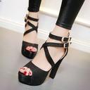 Kvinnor Glittrande Glitter Stilettklack Sandaler Plattform Peep Toe skor