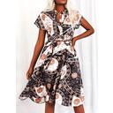 Leopard Print Kjole med A-linje Korte ærmer Midi Casual Ferie skater Mode kjoler (294258562)