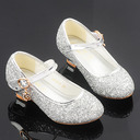 Muchacha Encaje Sparkling Glitter Zapatos de niña de las flores con Crystal