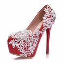 Vrouwen Kunstleer Stiletto Heel Closed Toe Pumps met Imitatie Parel Strass Stitching Lace