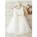 A-Line Knee-length Flower Girl Dress - Tulle/Lace Sleeveless Straps With Rhinestone (010169222)