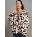 Leopardo Mangas 3/4 poliéster Escote en V camiseta Blusas