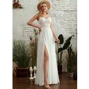 A-Line V-neck Floor-Length Wedding Dress With Beading Split Front (002255683)
