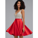 A-Line V-neck Short/Mini Satin Homecoming Dress With Beading Sequins Pockets (022203123)