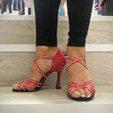 Women's Satin Heels Latin With Sequin Dance Shoes